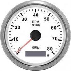 ΣΤΡΟΦΟΜΕΤΡΟ ΜΕ ΨΗΦΙΑΚΟ ΩΡΟΜΕΤΡΟ ΙΝΟΧ ΛΕΥΚΟ  0-8000 RPM