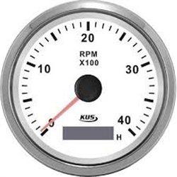 ΣΤΡΟΦΟΜΕΤΡΟ ΜΕ ΨΗΦΙΑΚΟ ΩΡΟΜΕΤΡΟ ΙΝΟΧ ΛΕΥΚΟ  0-4000 RPM